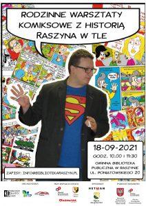 Rodzinne warsztaty komiksowe z historią Raszyna w tle - plakat
