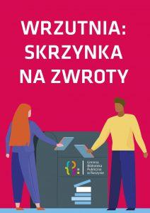 dwie osoby wrzucają książki do wrzutni - plakat